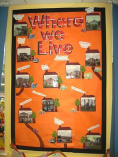 Exploring where we live but could also be a wall on families, hobbies and so on. Should require some homework working with family! Class Displays, School Displays, Classroom Displays, Classroom Ideas, All About Me Topic, Where Do I Live, British Values, Teaching Schools, Teaching Kids