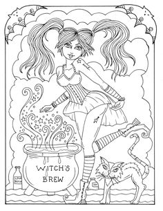 Magical Witches Coloring Fun Halloween For All Ages Spooky Cute Whimsical And Some Chubby
