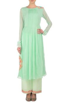 Mint Green Pleated Suzani Motif Kurta With Palazzo Pants #georgette #crepe #resham #tilla #embroidery #casual #day/brunch #full-sleeves #Round-neck