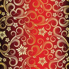 golden swirls floral pattern background