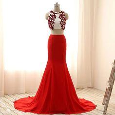 2 pieces set white and red scissor-cut flock appliques chiffon mermaid sweep train prom dress: