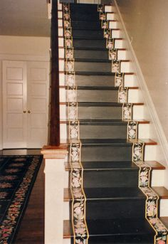 Stairs black with roses. Le Van Margaret Designs. Decorative painting