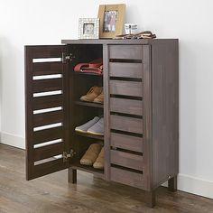 Slatted 2 door shoe storage cabinet mahogany effect