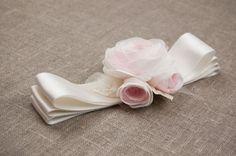Blush rose flower sash Wedding dress sash by floraljewellery