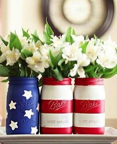 Simple DIY patriotic jars for your holiday get-together. Find Ball Jars at Target. Creativity is up to you!