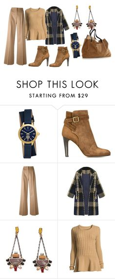 """""""Lovely combination"""" by subvilli ❤ liked on Polyvore featuring Tory Burch, Michel Vivien, MaxMara, Neiman Marcus, Mark & Graham, navy, beige, coat and polyvorefashion"""