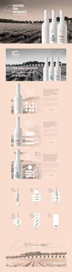 Across The Vineyard Wine Collection on Behance by StudiojQ. Aa really nice study of wine packaging design progression. PD