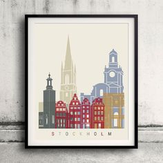 Stockholm skyline poster  Fine Art Print Glicee by Paulrommer