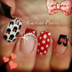 Minnie Mouse design #nails #nailart #gelnails #NSI #NSINails #glitternails #handpaintednails #fakenails #acrylicnails #nailporn #nailartideas #nailideas #naildesigns #amazingnails #nailinspiration #notpolish #nailextensions #leopardprintnails #animalprintnails #blingnails #frenchnails #pinknails #3Dnailart #3Dnails