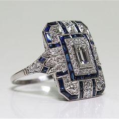 Anel Art Deco, Art Deco Ring, Art Deco Jewelry, Jewelry Design, Sterling Silver Jewelry, Antique Jewelry, Vintage Jewelry, Antique Art, Silver Ring