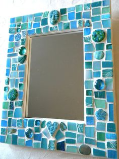 Mosaic Mirror  AQUA BLUE Turquoise Teal  by StarryNightStudios99, $48.00