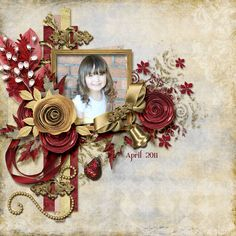 Gorgeous Gold & Burgundy Page...with flowers & ribbon.