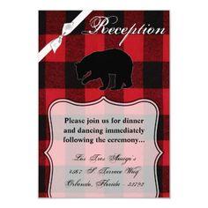 3.5x5 Reception Card Red Buffalo Plain Bear Black Wedding Rehearsal Invitations, Save The Date Invitations, Beautiful Wedding Invitations, Wedding Rsvp, Wedding Invitation Design, Custom Invitations, Wedding Cards, Party Invitations, Invitation Ideas