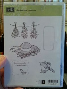 Stampin Up GARDEN FROM THE HEART Clear Mt Stamp FLOWERS Bird Herbs Hat Glove Tag #StampinUp #Clear