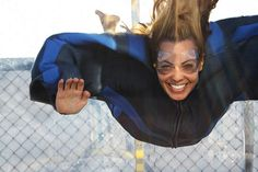 """(that's me) ... floating in midair in an """"Extreme Velocity"""" 200km/h vertical wind tunnel ... in Port Macquarie, Australia"""