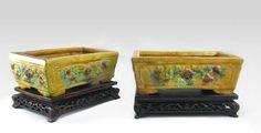 Pair of Antique Sancai Glaze Chinese Pottery Rectangular Footed Planters  #Antique #Chinese #Sancai #YellowandGreen #Planters #Flowerpots #Bonsai #Planter