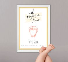 Personalized Baby Stats Footprint Nursery Wall Art, Birth Date Name Poster - YOUR baby's footprints