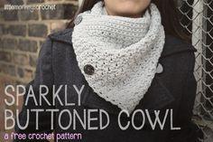 Sparkly Buttoned Cowl  |  a free crochet pattern by Little Monkeys Crochet