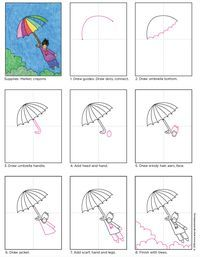 Umbrella Kid Drawing. PDF tutorial available for download. #howtodraw #directdraw