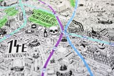 Jenni Sparks – Hand Drawn Map of Paris Paris Metro, Fun Illustration, Illustrations, Paris Map, Famous Landmarks, Me On A Map, How To Draw Hands, Graphic Design, Jenni