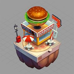 Concepts created for the Game Dragon City. I've designed the complete Fast Food themed island. Dragon City, Concept, Illustrations, Island, Artwork, Food, Work Of Art, Auguste Rodin Artwork, Illustration