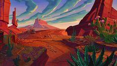 myPeridot: Tuesday animation: Home on the Range Art Disney, Disney Concept Art, Environment Painting, Environment Concept Art, Animation Background, Art Background, Concept Art Landscape, Art Steampunk, Southwestern Art
