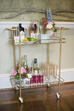 A perfectly styled bar cart   photography by http://www.alysefrenchphotography.com