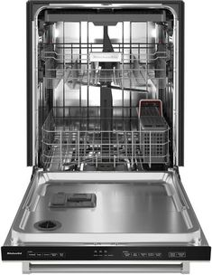 The quietest KitchenAid® Dishwasher provides quiet cleaning without compromising performance, so there's no need to wait to run a wash cycle. A third level utensil rack holds silverware, serving utensils and spatulas, and an adjustable middle rack adds flexibility to fit tall items. Choose Stainless Steel with PrintShield™ Finish that resists smudges and fingerprints. Kitchenaid Dishwasher, Stainless Steel Dishwasher, Black Stainless Steel, Integrated Dishwasher, Built In Dishwasher, Utensil Trays, Serving Utensils