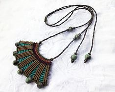 Macrame cotton necklace with acai and metal beads