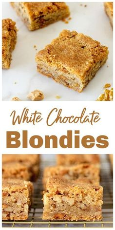 Wonderfully easy to make, these White Chocolate Blondies have walnuts, are ready in under an hour and freeze well. #blondies #whitechocolate #walnuts #bars