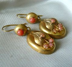 18ct Gold Coral Panel Earrings