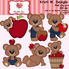 Fall Apples Bear 1 Clipart Digital Download by MaddieZee on Etsy