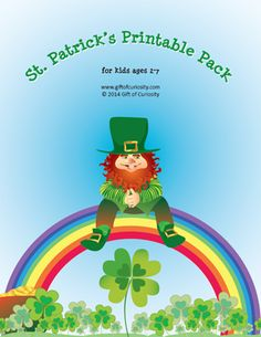 St. Patrick's Day Printable Pack with 74 activities for kids ages 2-7 focused on skills such as shapes, colors, fine motor, math, and literacy - Gift of Curiosity