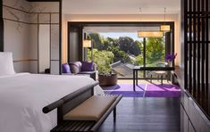 Guestroom with a temple view at the Four Seasons Kyoto by HBA Design.
