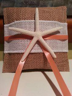 Tropical Beach Ring Bearer Pillow, Beach Wedding  - Starfish - Hawaii - Coral - Beach - Burlap Shabby Chic