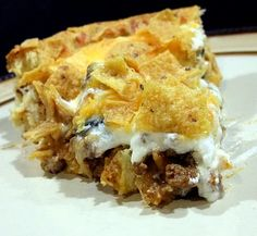 Sensational Taco Pie - add some shredded lettuce and tomato on top.  This was very good, put salsa on top!