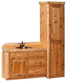 Bathroom Vanity Linen Cabinet Combo - Bathroom cabinets are an important characteristic to any bathroom. These cabinets can n Bathroom Linen Cabinet, Wood Bathroom, Small Bathroom, Linen Cabinets, Bathroom Cabinets, Bathroom Vanities, Over The Toilet Cabinet, Knotty Pine Walls, Pine Furniture