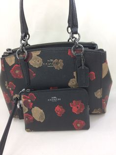 368e44ac580a New Coach F55538 Mini Christie Carryall in Halftone Floral Print Coated  Canvas+Wristlet Set