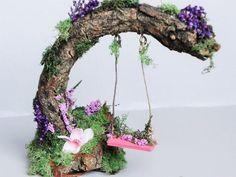Charming fairy swing. Fairy garden miniature garden by TinkerWhims #miniaturefairygardens