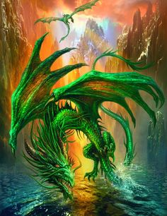 """The Hawaiian emerald dragons are only found in Hawaii and the Philippines. These horse sized dragons travel in flocks of six, and are voracious hunters. Since the colonization of man, though, their population has plummeted due to lack of food. There are now several islands that serve as preserves. To encourage what few remain to repopulate, all human access is strictly controlled. Any unauthorized, eh, """"guests"""" often get snatched up by the Hawaiian emeralds and eaten."""