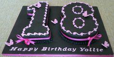 Black and pink 18th birthday cake