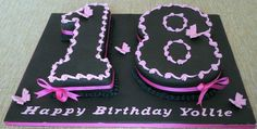 Black and pink 18th birthday cake