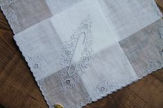 C Monogrammed Wedding Handkerchief lace embroidery initial monogram personalize hanky by Yebisu on Etsy