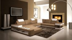Living Room Leather Sofa Set with LED-light modern corner leather sofa set  # 5035