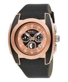 Take a look at this Black Gilded Frame Chronograph Watch - Women & Men by Breil on #zulily today!