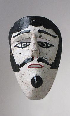 Mexican Moor mask - in the USA it is hard to imagine the current use of these dance masks but the dances are real & meaningful - for more on Mexico visit www.mainlymexican.com #Mexico #Mexican #mask