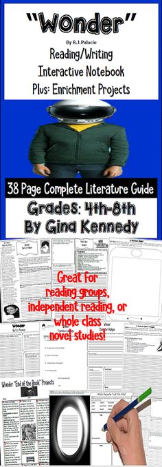 """No-Prep novel study for """"Wonder"""", a standards based interactive notebook literature guide with follow-up reading response questions for every chapter as well as vocabulary, writing projects, activities and enrichment projects. Teacher friendly engaging lessons to use with this award winning novel by R.J. Palacio in your classroom while encouraging critical reading skills.  Everything you need to use this novel in your classroom effectively is included with this resource.$"""