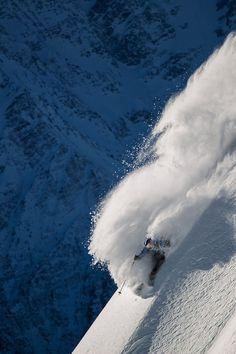 Skiing Steep Deep Powder