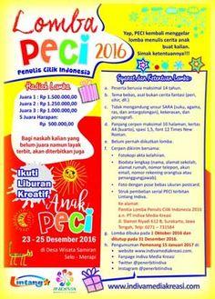 #PECI #PenulisCilikIndonesia #LombaMenulisCerpen PECI Lomba Penulis Cilik Indonesia 2016 Lomba Menulis Cerpen untuk Anak  DEADLINE: 31 Desember 2016  http://infosayembara.com/info-lomba.php?judul=peci-lomba-penulis-cilik-indonesia-2016-lomba-menulis-cerpen-untuk-anak