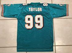 Vintage REEBOK Miami Dolphins Jason Taylor NFL Jersey Men s Large  d9dd6739d